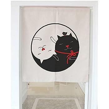 """Love Cats Pattern Door Curtain Japanese Noren Curtain Bedroom Curtain Doorway Curtain (31.5""""x35.4"""")"""