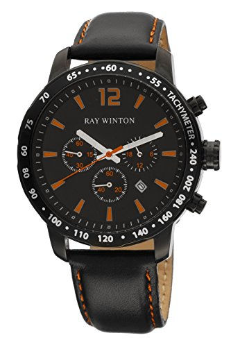 Ray Winton Men's WI0111 Chronograph Black Dial Tachymeter Bezel Genuine Black Leather Watch (Tachymeter Gents Chronograph Watch)