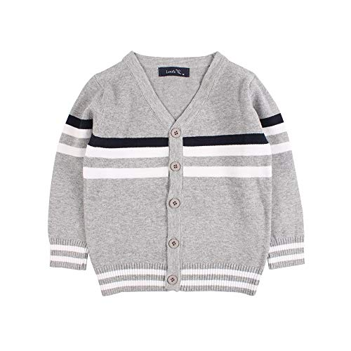 (Boys Cotton Crochet Sweater V Collar Baby Striped Button Up Cardigan Long Sleeve ToddlerClassic Knit Casual Outerwear (Grey-White, S))