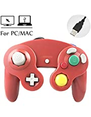 Reiso GC Style 1 Pack Classic USB Wired Controller Gamepad for Windows PC MAC(Red)