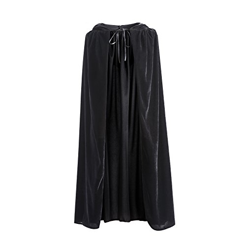 Hooded Cloak, Long Velvet Cape Fancy Robe Unisex Cloak with Hood for Knight Vampire Witch Halloween Christmas Cosplay Costume -