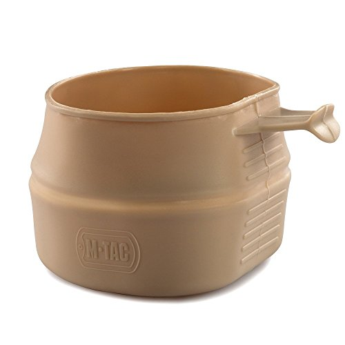 M-Tac Collapsible Cup Military Travel Outdoor Camping and Hiking Coffee Foldable Cup 7-12 Oz (Coyote Tan)