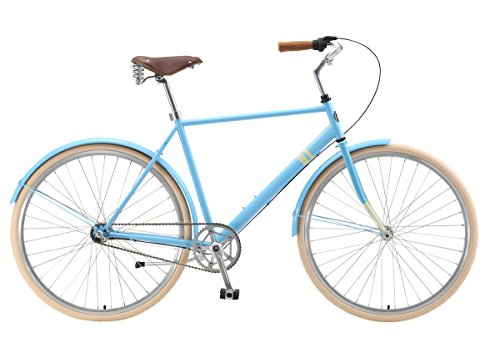 Park Row 3-Speed City Cruiser by Sole Bicycles, 46cm/Small, Blue/Yellow
