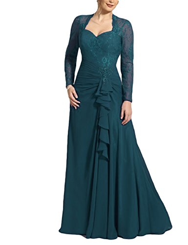 OYISHA Womens Long Sleeve Lace Mother Of The Bride Dresses Formal Evening 67MD Jade 12