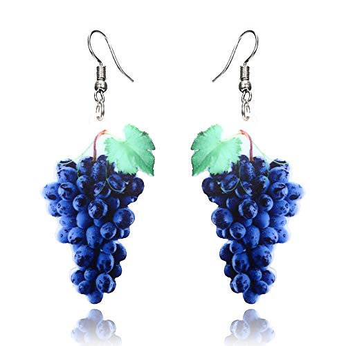 Topdo 9 Styles Women Girls' Fashion Fresh Fruit Shape Dangle Drop Earrings Alloy Funny Fruits Shape Hanging Earrings-Grape Design -