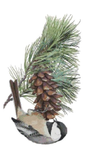 Maine State Bird (Black-Capped Chickadee) and Flower (White Pine Cone and Tassel) Counted Cross Stitch Pattern