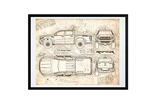 DolanPaperCo #448 Ford Ranger Raptor (2018) Art Print, da Vinci Sketch - Unframed - Multiple Size/Color Options (8x10, ()