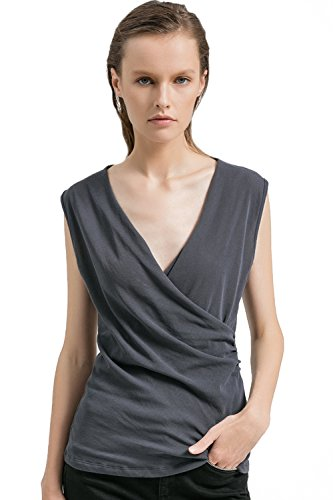 Neck Sleeveless Crossover Ruched Side Tunic Tank Tops Slim Blouse (XS-XL) ()