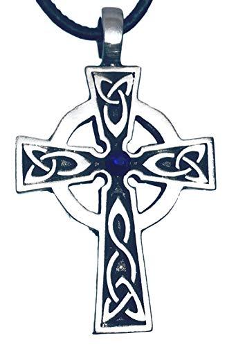 Pewter Celtic Cross Irish Wales Pendant on Leather w/ Swarovski Crystal Cobalt Blue September Birthday