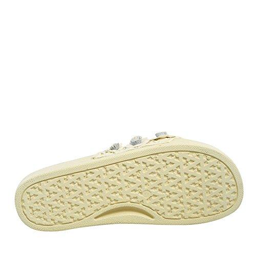 Avec Les Filles Womens Stella Open Toe Slide Flats, White Floral, Size 8.0