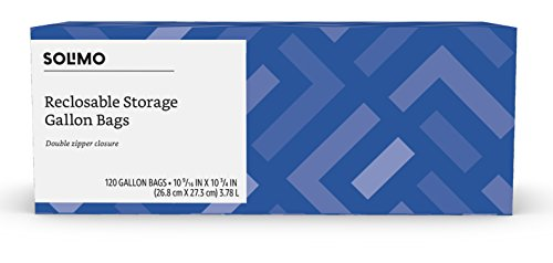 - Amazon Brand - Solimo Gallon Food Storage Bags, 120 Count