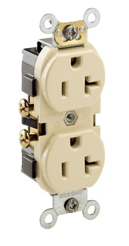 (Leviton CR020 20-Amp, 125 Volt, Slim Body Duplex Receptacle, Straight Blade, Commercial Grade, Self Grounding, Brown)