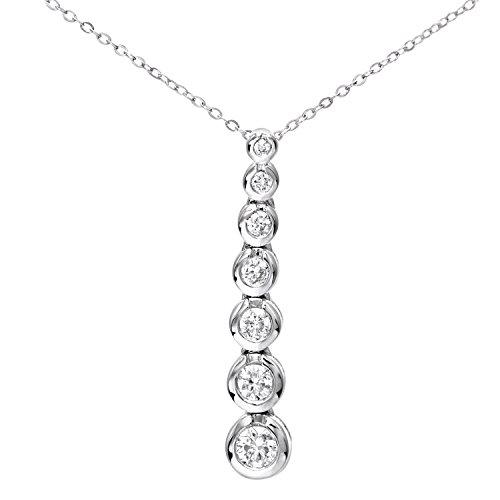 Revoni Bague en or blanc 9carats-Dégradé 0,33CT Diamant Pendentif et chaîne de 46cm
