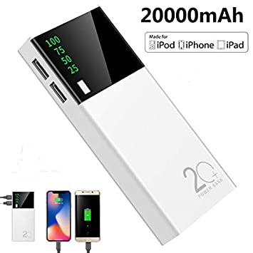EDTara 2 USB 20000mAh Power Bank LED Cargador de batería de ...