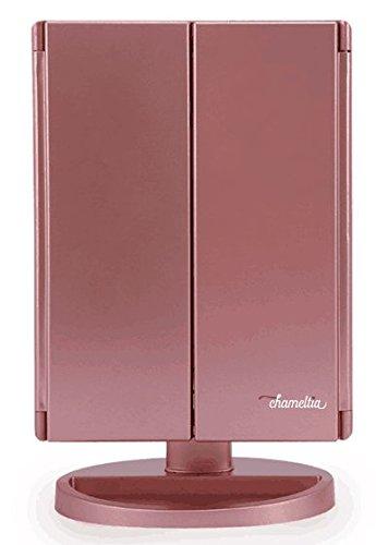Specchio per trucco Vanity illuminato in oro rosa Chameltia con 21 luci a LED, regolabile a 180 gradi, touch screen, ingrandimento pieghevole, due modalità di alimentazione, specchio cosmetico da viaggio e consigli di bellezza gratuiti EBook Chameltia Supp