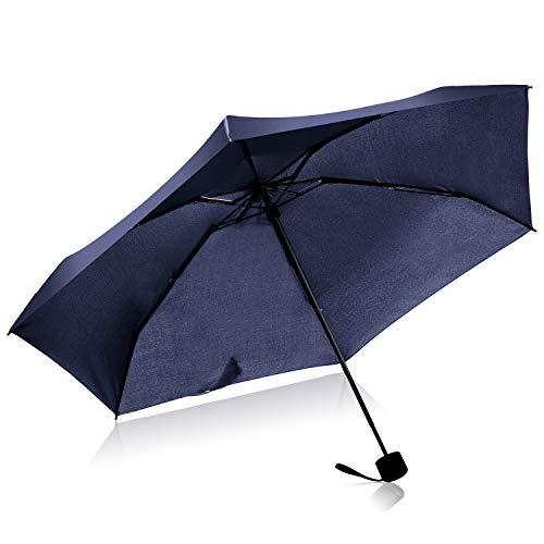- Mini Travel Umbrella Windproof Folding Compact Portable Lightweight Outdoor Umbrella for Women and Men Kids (Navy Blue)