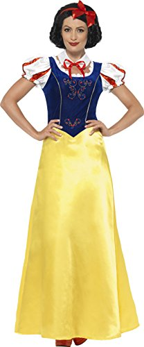 Smiffy's Women's Princess Snow Costume, Dress, Collar and Headband, Wings and Wishes, Serious Fun, Size 10-12, (Snow White Costume Womens)