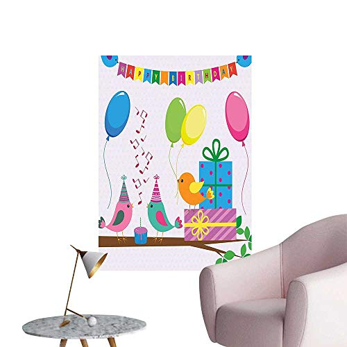 (Modern Decor for Kids Singing Birds Happy Birthday Song Flags Cone Hats Party Cake Multicolor Ideal Kids Decor or Adults,24
