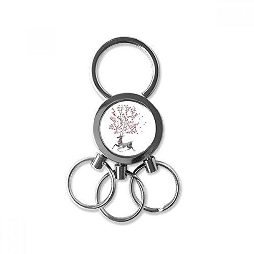 Reindeer Christmas Artistic Effect Hand-painted Metal Key Chain Ring Car Keychain Trinket Keyring Novelty Item Best Charm Gift