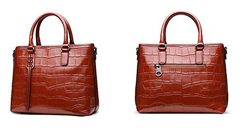 cocodrilo de hombro Brown mano Patrn Zipper verano cuero diagonal salvaje bolsa de cara primavera slido paquete de de bolsos blanda y color 5dqSP