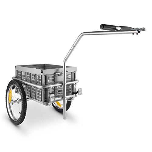 Duramaxx Bigbig Box Fahrradhänger Fahrradanhänger Anhänger für Fahrräder Handwagen (Hochdeichsel-Kopplung , 40 Liter Transportbox, bis max. 40kg, Handgriffe, Autoventil) grau
