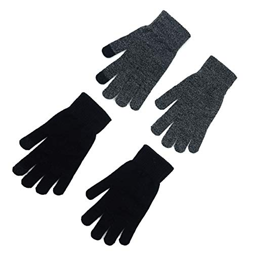 accsa Mens Touchscreen 2 Pack Magic Stretchy Gloves Black and Grey - One Size Fits Most