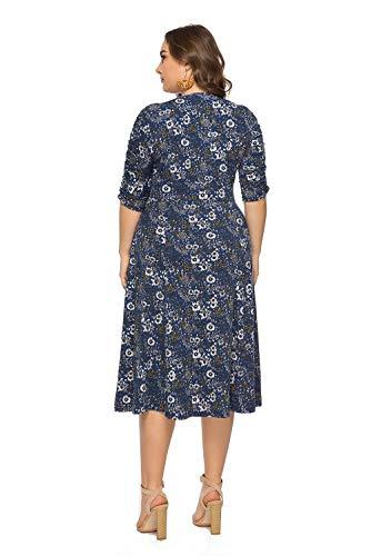 Talla Mujer Cuello Grande Maxi Para Vestido Talle Azul Y De Informal Delgado Largo Alto Shangrui p0twYp
