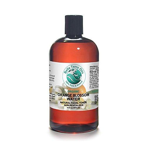 Orange Blossom Water 16 oz Facial Toner Cleanser. 100% Pure. Organic. Undiluted. - Bella Terra Oils