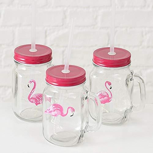 Home Collection Hogar Cuberter/ía Cristaler/ía Copas Fiesta Juego de 3 Vasos con Tapos y Pajitas Motivo Flamenco Rosa