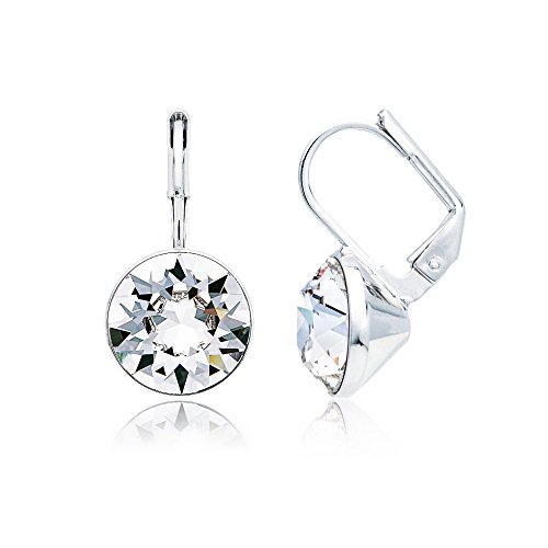 (MYJS Bella Clear Crystal Drop Earrings, Rhodium Plated Swarovski Crystals, Nickel Free and Hypoallergenic, 11 mm Mini Drop Earrings)