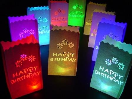 10 X White Happy Birthday Paper Candle Bag Lantern Colour Change Led Lights