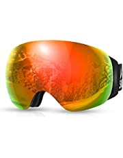 SKL Ski Goggles, OTG Snowboard Goggles,Snow Goggles with Magnetic Interchangeable Spherical Lens, Anti-Fog&UV400 Protection&Helmet Compatible Goggles for Men/Women/Youth Skiing