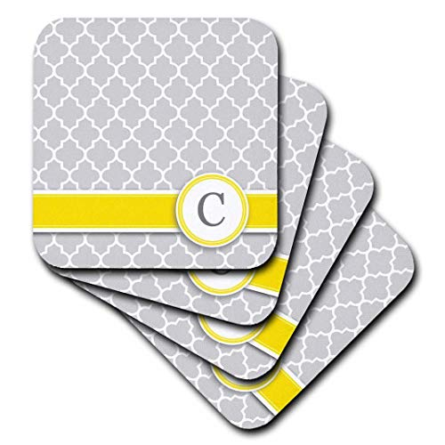 3dRose Your Personal Name Initial Letter C - Monogrammed Grey Quatrefoil Pattern - Personalized Yellow Gray - Soft Coasters, Set of 4 (CST_154569_1)