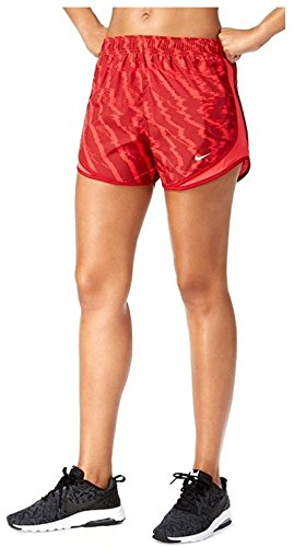 NIKE Women's Dry Tempo Printed Running Shorts 855193-653, Siren Red/Wolf Grey (MD x One (Red Ladies Tempo Shorts)
