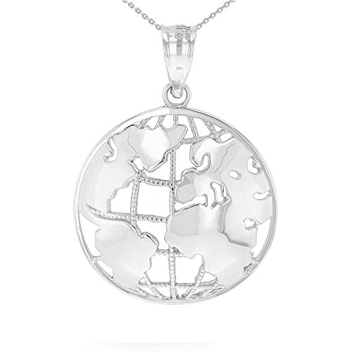 - CaliRoseJewelry .925 Sterling Silver World Globe Charm Pendant Necklace (18, sterling-silver)