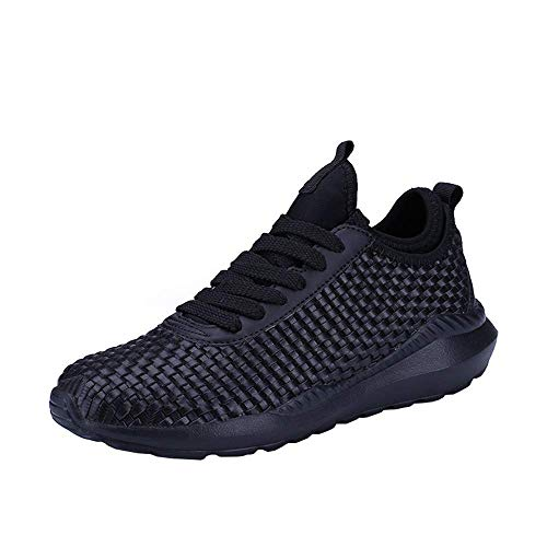(JSPOYOU Men's Casual Comfortable Breathable Woven Sneakers Sports Shoes Cross Trainer Shoes Black)