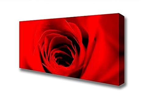 Panoramica Al Centro Di Una Rosa Rossa Stampa Artistica Su Tela Red