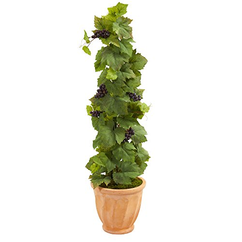 Leaf Planter - Nearly Natural Grape Leaf Artificial Plant in Terracotta Planter, 4'