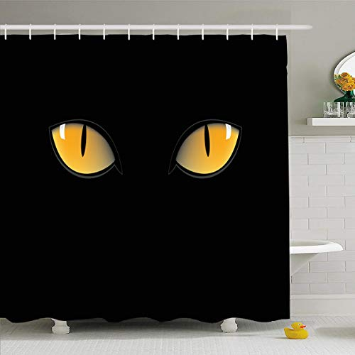 (Ahawoso Shower Curtain 72x72 Inches Iris Blue Panther Orange Cat Eyes Dark Eyeball Night Green Glow Tiger Witch Abstract Design Waterproof Polyester Fabric Set with Hooks )
