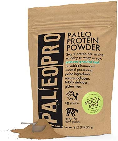 PaleoPro Protein Powder, Gluten Free, Dairy Free, Whey Free, Soy Free, No Added Hormones, Pastured Grass-fed Beef, Minimally Processed Paleo Ingredients, 1lb 454g, About 15 Servings, Mocha Mint