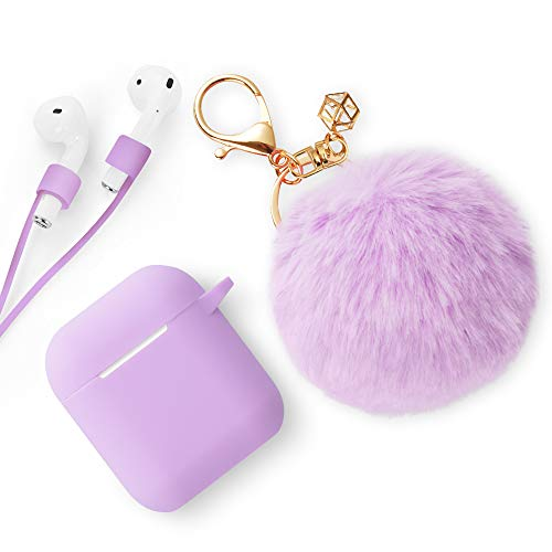 ODUMDUM Apple AirPods Case, Cute Case Drop Proof (Silicone Skin and Cover) with Fluffy Fur Ball Keychain and Anti-Lost Strap for Apple Wireless Headset, Gift for Girls, Light Purple, Lilac