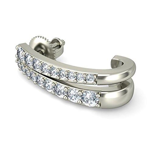 14K Or blanc 0,46CT TW Round-cut-diamond (IJ | SI) Boucles d'oreilles créoles