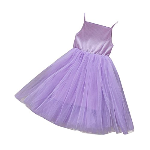 Winsummer Baby Girls Tutu Dresses Sleeveless Princess Dress Infant Tulle Dress Toddler Summer Beach Skirt Sundress (Purple, 4T) by Winsummer (Image #2)