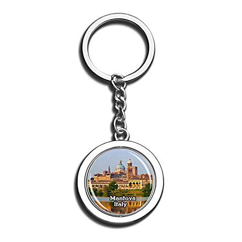 Mantova Italy 3D Crystal Creative Keychain Spinning Round Stainless Steel Key Chain Ring Travel City Souvenir Collection ()