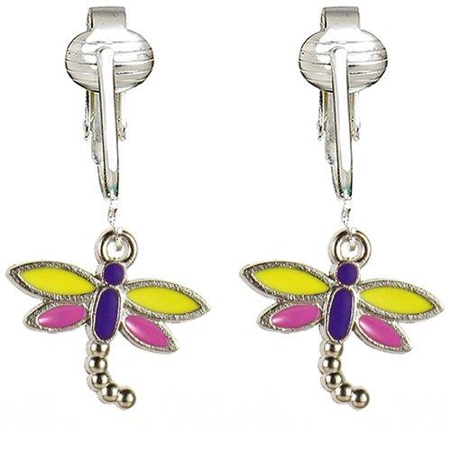 Butterfly Clip Earrings, Dragonfly Clip On Earrings, Butterfly Clip On Earrings for Women, Girls, Clip Earrings for Kids (Yellow (Enamel Earrings Clip)