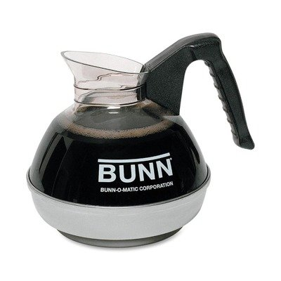 Bunn-O-Matic Corporation Products - 12-Cup Unbreakable Decanter, Regular, Black Handle - Sold as 1 EA - 12-cup decanter features a container and handle core molded as sturdy, extra-strength, one-piece construction for long life. Clear, high-impact-resistant material complies with FDA regulations for food contact. Drip-proof, fast-pour lip, an exclusive Bunn design, assures convenient serving. Base is made of stainless steel. Unbreakable decanter is designed for use with Pour-O-Matic