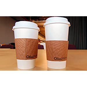 SafePro 16 oz Paper Hot WHITE Cups with Lids and Cup Sleeves, (Case of 100)