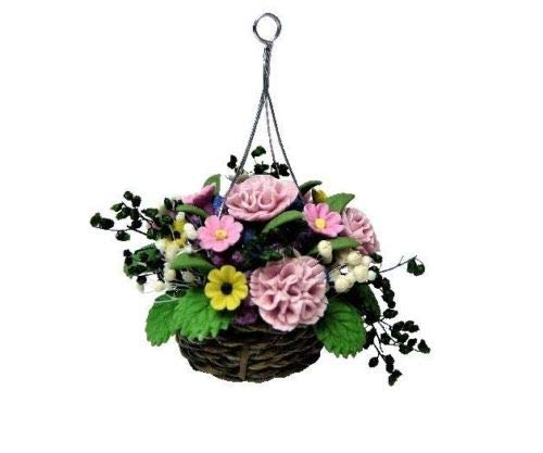 - An Figurines Miniature Fairy Garden Pink Carnations in Woven Hanging Basket