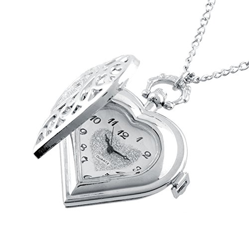Auntwhale Heart Locket Style Heart-Shaped Pocket Watch Necklace Pendant for Girls Lady Women Silver -