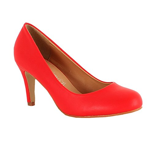 King Of Shoes Klassische Damen Pumps Stilettos Abend Schuhe Party Hochzeit 33 Rot